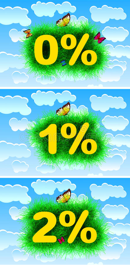 Zero, One, Two Percent. Abstract text with grass around and blue sky background royalty free illustration