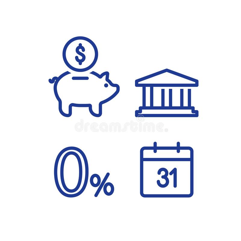 Monthly payment, zero percent sign, financial calendar, annual income, piggy bank money return, long term investment pension fund. Zero percent sign, financial stock illustration