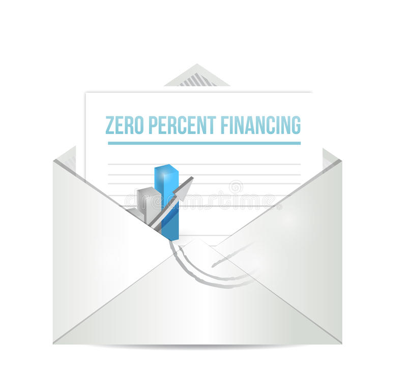 Zero procentu finansowania papierkowej roboty ilustracja ilustracji