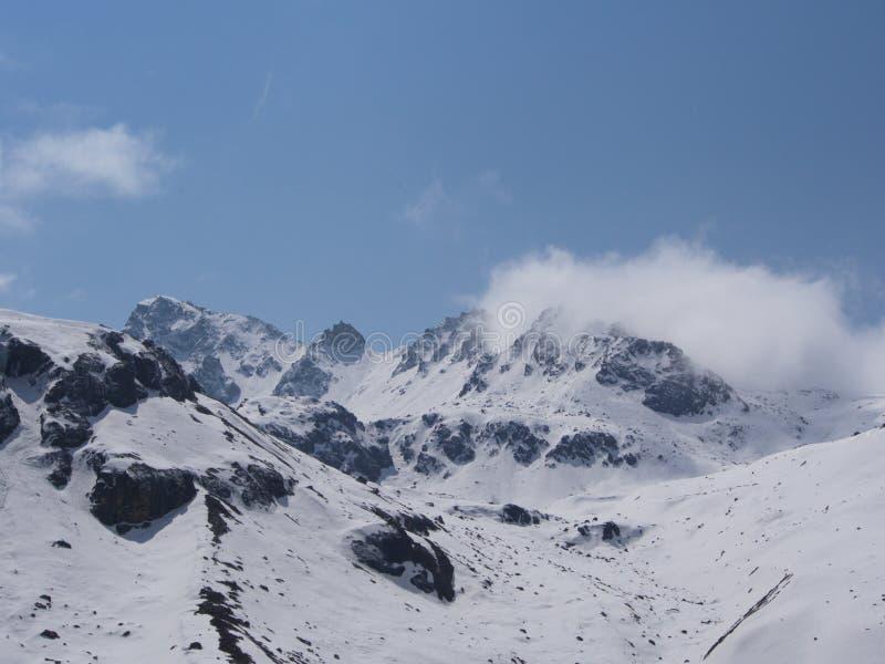 Zero punkt Sikkim niebo, Dokąd cywil Drogowe końcówki, Sikkim WEWNĄTRZ zdjęcie royalty free