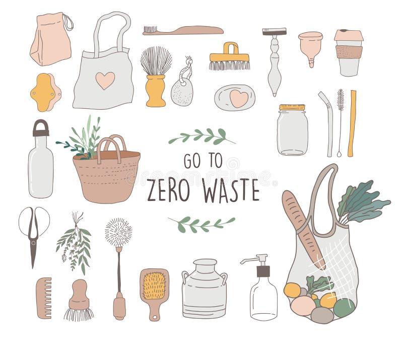 Zero residuo, ambientale, va la progettazione di massima verde Illustrazione di vettore royalty illustrazione gratis