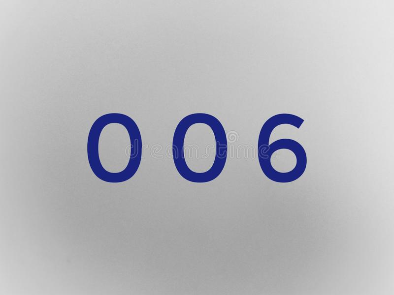 Zero zero sześć cyfra w błękitnym kolorze zdjęcia royalty free