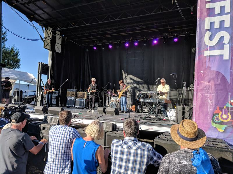 Zero Ted Band Performing on the Main Stage on Friday at JazzFest 2018. South Dakota group Zero Ted Band on stage at the Sioux Falls Jazz & Blues JazzFest stock photos