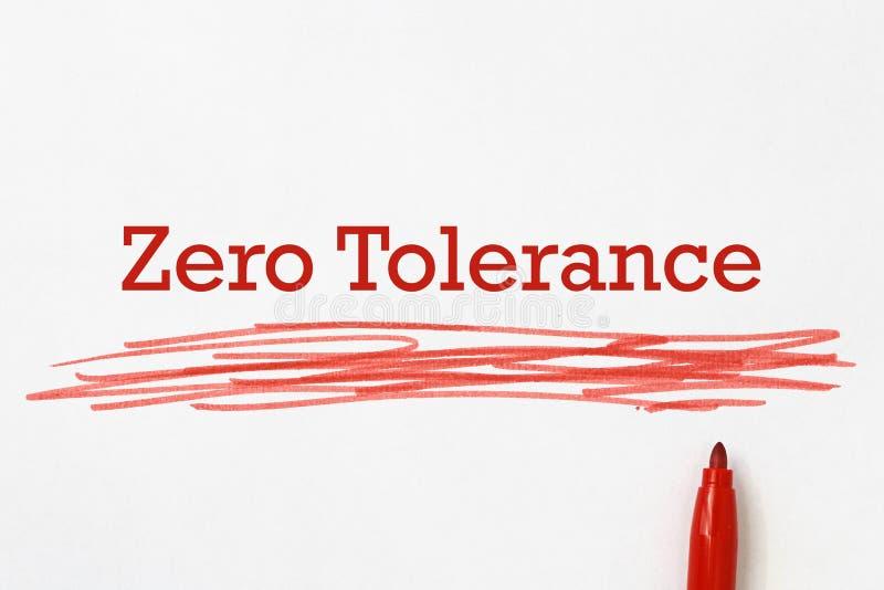 Zero tolerancji na papier fotografia stock