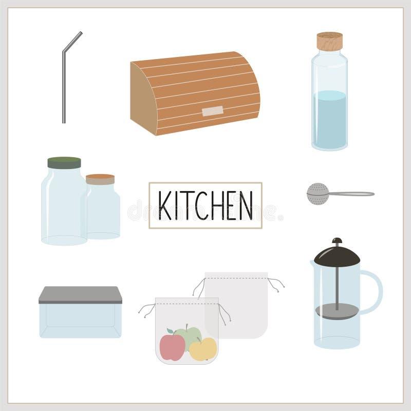Eco, green, minimalism and zero waste lifestyle. Kitchen royalty free illustration
