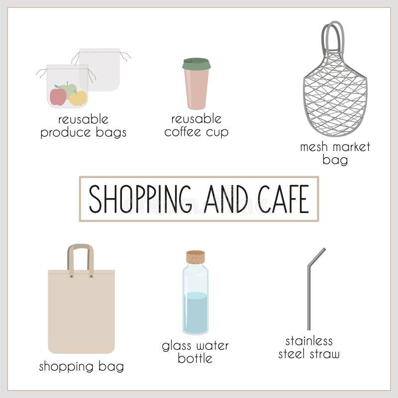Zero waste reusable stuff for minimalists stock illustration