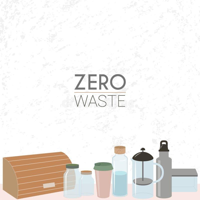 Zero waste lifestyle. Reuse. stock illustration