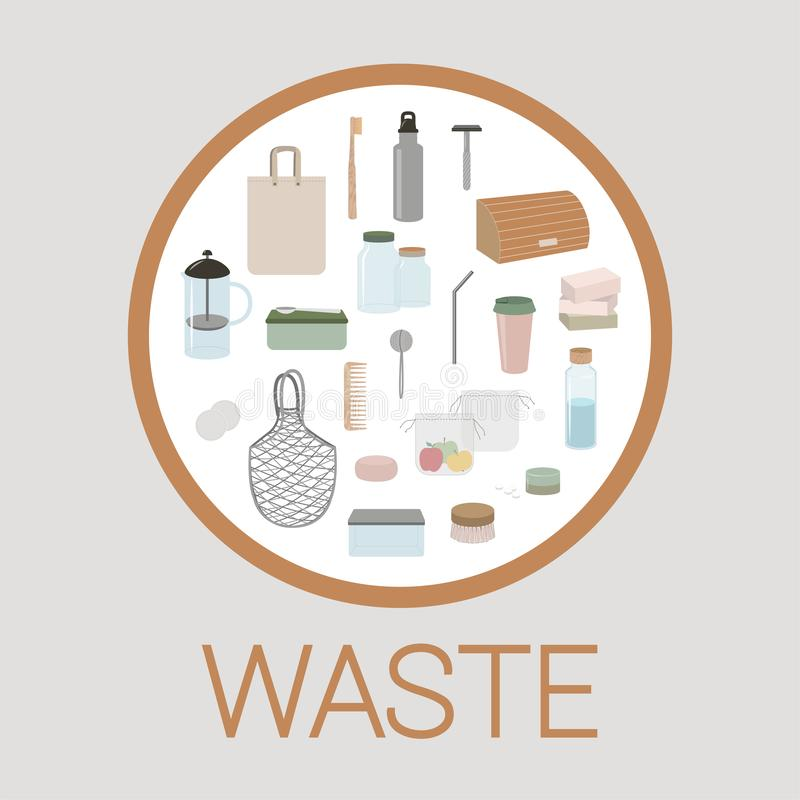 Set of elements of eco, green and zero waste lifestyle. Vector illustration. Infographic template, set of elements of eco, green and zero waste lifestyle in zero vector illustration