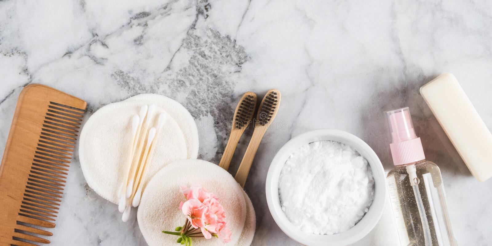 Zero waste beauty body care accessories royalty free stock photos