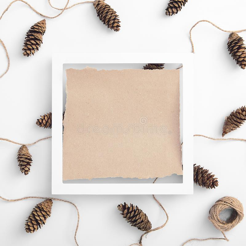 Zero waste christmas garland made from pine cone and natural jute twine. Christmas minimal concept - Zero waste christmas garland made from pine cone and natural stock image