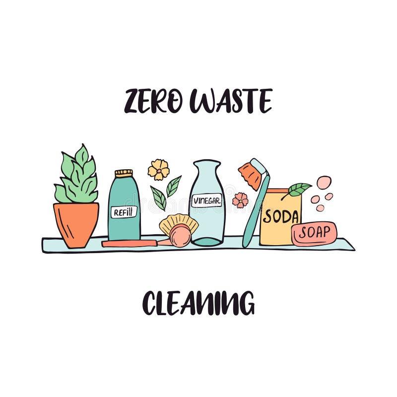 Zero Waste cleaning shelf with sustainable items stock illustration