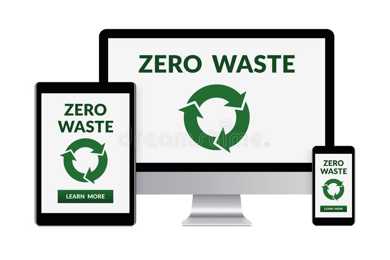 Zero waste concept on electronic devices isolated on white background. Desktop computer, tablet and smartphone isolated on white with zero waste concept on vector illustration