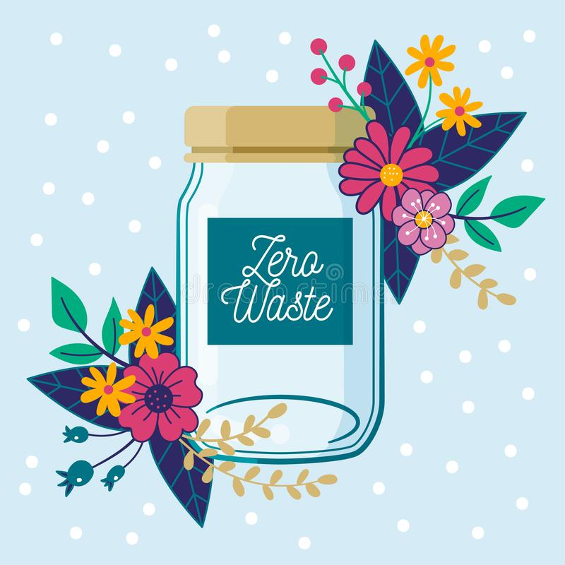Zero Waste concept. Empty glass jar, with floral composition. stock photos