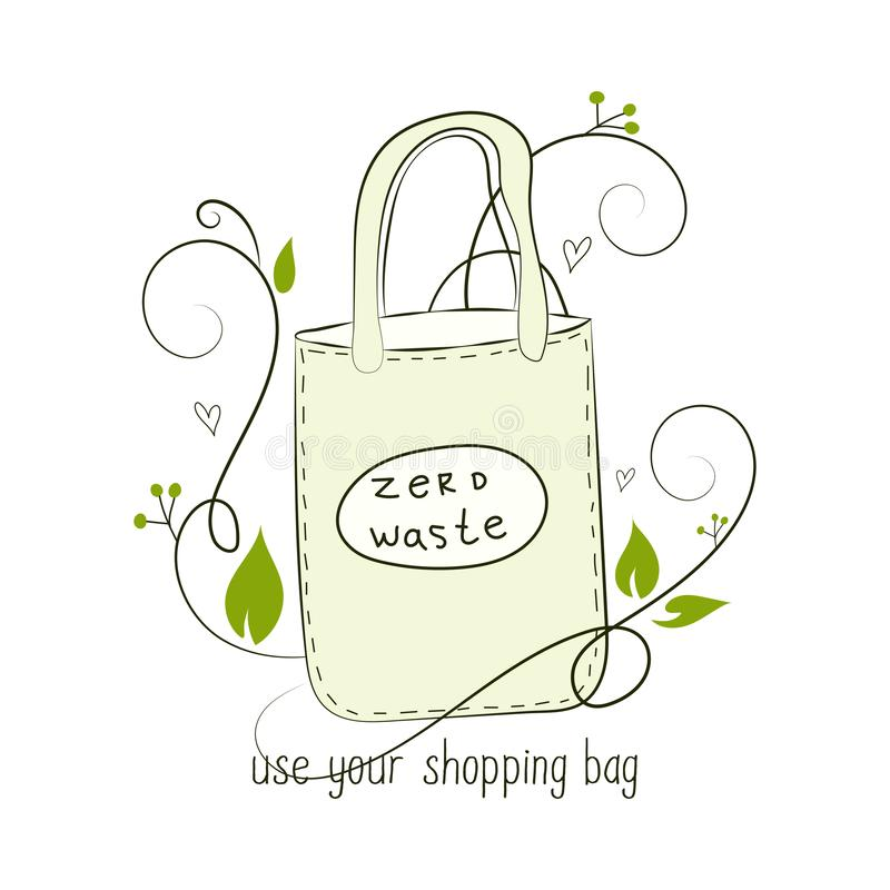 Zero Waste Concept. Hand drawn elements of zero waste life. Zero waste concept card. Good for posters, banners, web design, cards. Zero Waste Concept Hand drawn vector illustration