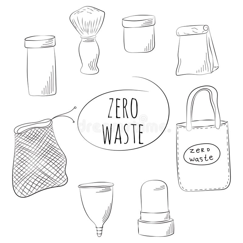 Zero Waste Concept. Hand drawn elements of zero waste life. Vector illustration. Zero Waste Concept Hand drawn elements of zero waste life. Vector illustration royalty free illustration