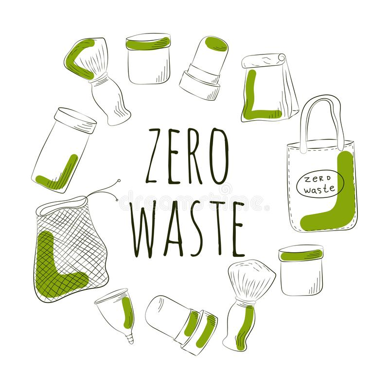Zero Waste Concept Hand drawn elements of zero waste life. Vector illustration. Zero Waste Concept. Hand drawn elements of zero waste life. Vector illustration royalty free illustration
