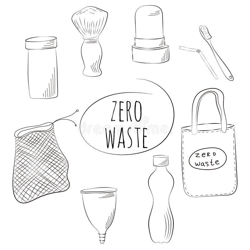 Zero Waste Concept. Hand drawn elements. Vector illustration. Zero Waste Concept. Hand drawn elements of zero waste life. Vector illustration royalty free illustration