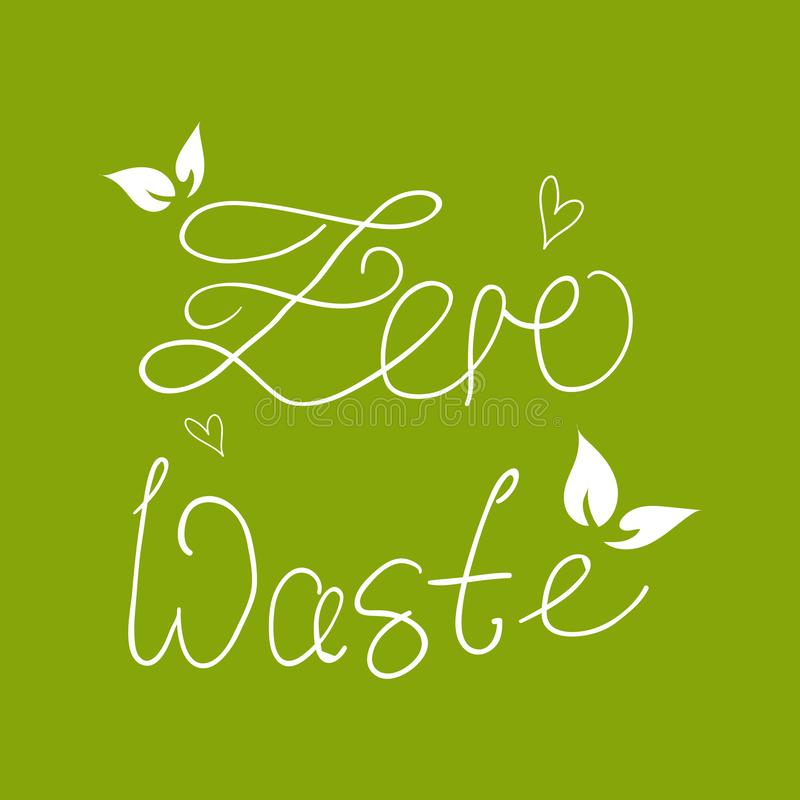 Zero Waste Concept. Hand drawn elements of zero waste life. Zero waste concept card Good for posters, banners, web design, cards Vector illustration royalty free illustration
