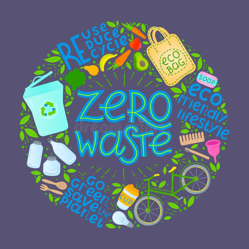 Zero waste concept. Vector illustration with hand drawn lettering,eco grocery bag,vegetables,fruits,bicycle,glass jars,wooden cutlery,comb and toothbrush stock illustration