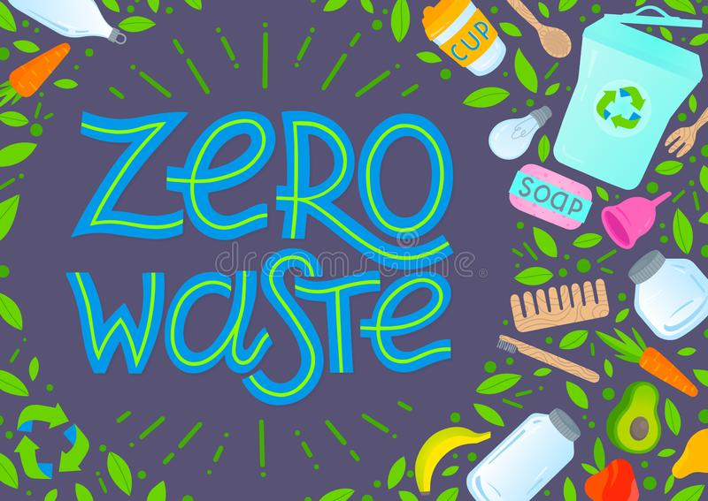 Zero waste concept. Vector illustration with lettering,vegetables,fruits,garbage can,glass jars,wooden cutlery,comb and toothbrush,menstrual cup,thermo mug royalty free illustration