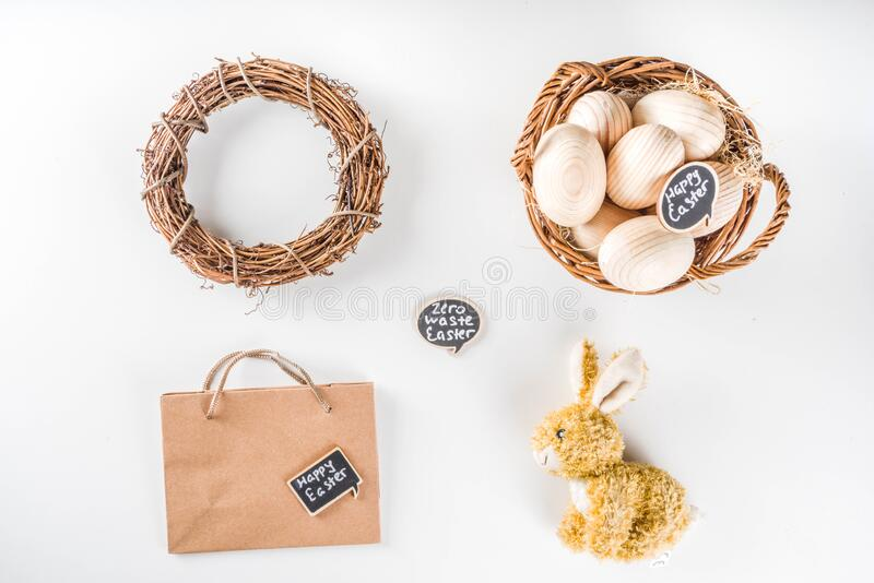 Zero waste Easter concept. Spring Easter holiday. background. Zero waste Easter concept with traditional Easter decoration - eggs, flowers, branches, bunny. Eco royalty free stock image