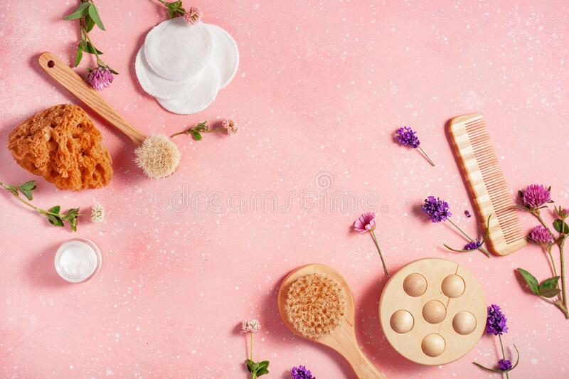 Zero waste eco friendly bath and body care products and wild flowers. natural cosmetics for home spa treatment royalty free stock photo