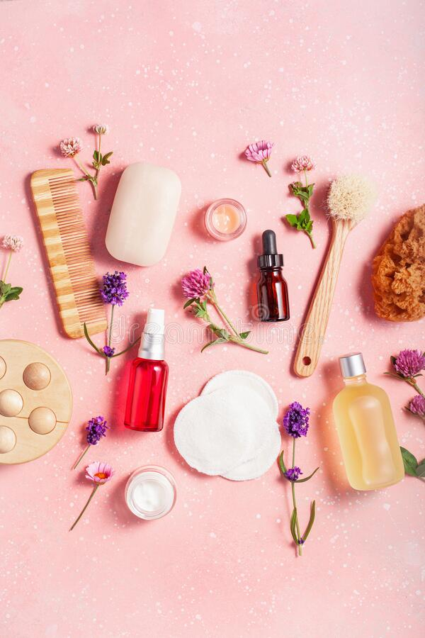 Zero waste eco friendly bath and body care products and wild flowers. natural cosmetics for home spa treatment stock photography