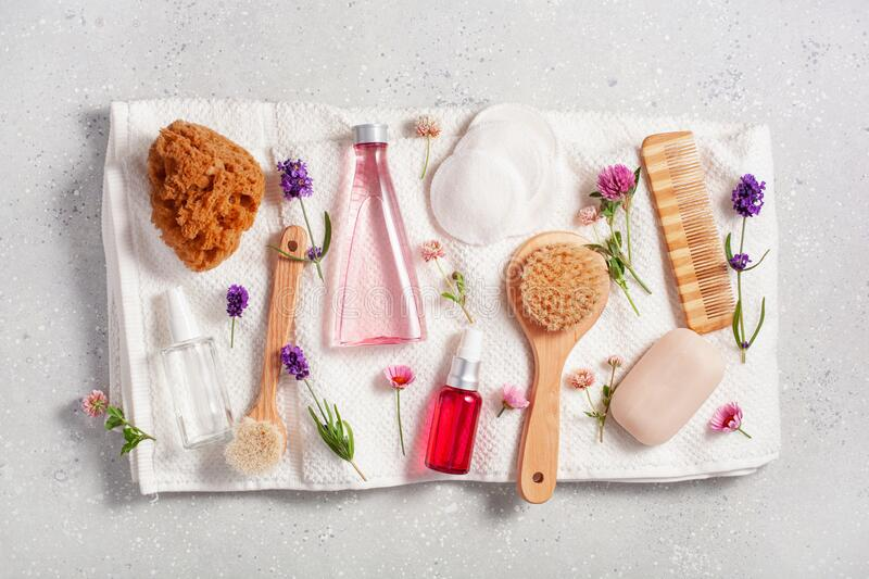 Zero waste eco friendly bath and body care products and wild flowers. natural cosmetics for home spa treatment royalty free stock photography