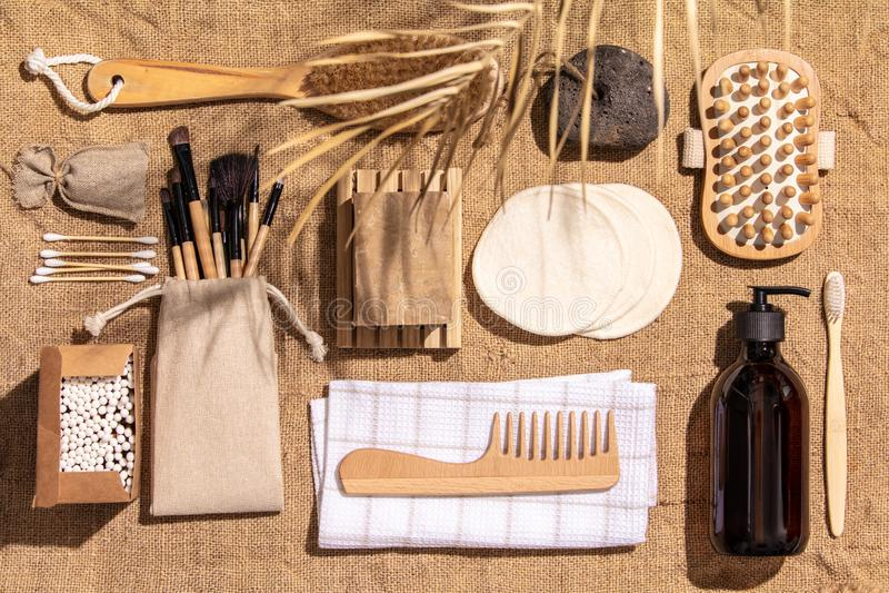 Zero waste, eco friendly bathroom accessories  on burlap fabric background stock image