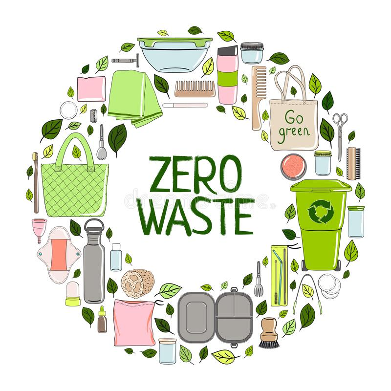 Zero waste elements in a circle. Hand drawn  illustration stock photos
