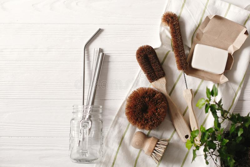 Zero waste food cleaning. eco natural coconut soap and brushes f stock images