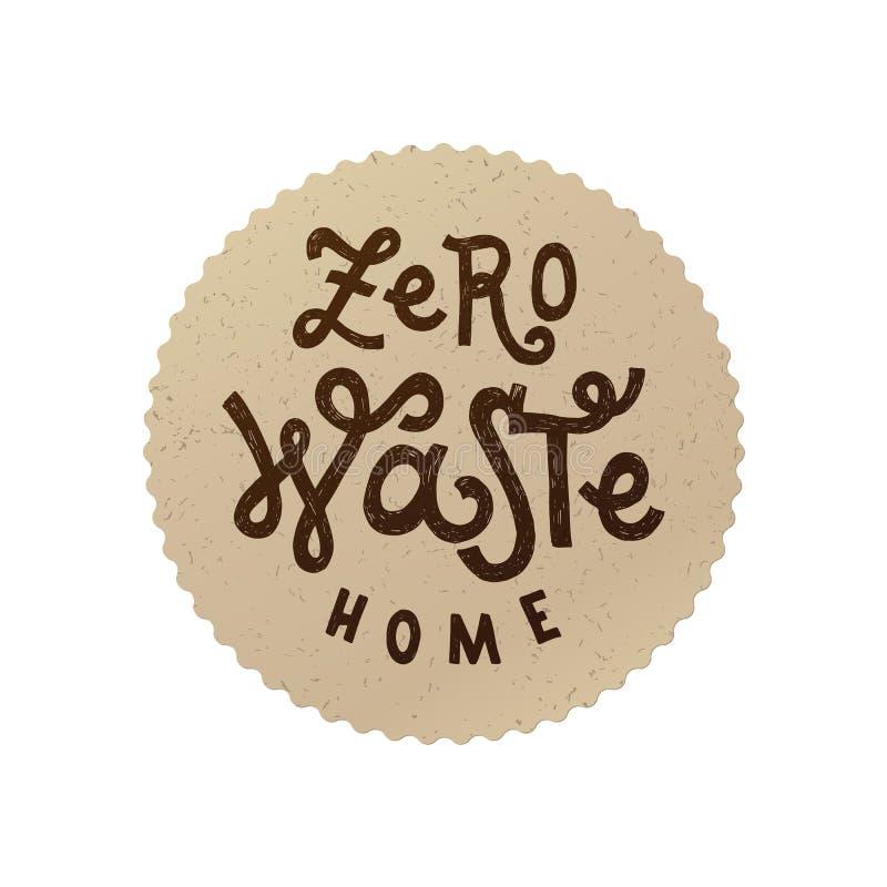 Zero waste home emblem. Eco emblem with zero waste home lettering. Vector illustration