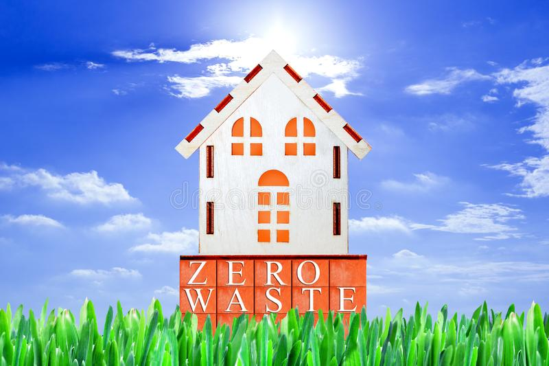 Zero waste home lettering in a house. Garbage recycling. Eco friendly environment house development concept. Save nature royalty free stock images
