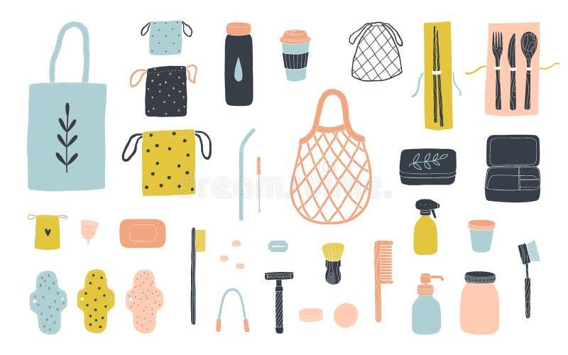 Zero waste items for eco friendly living stock photos