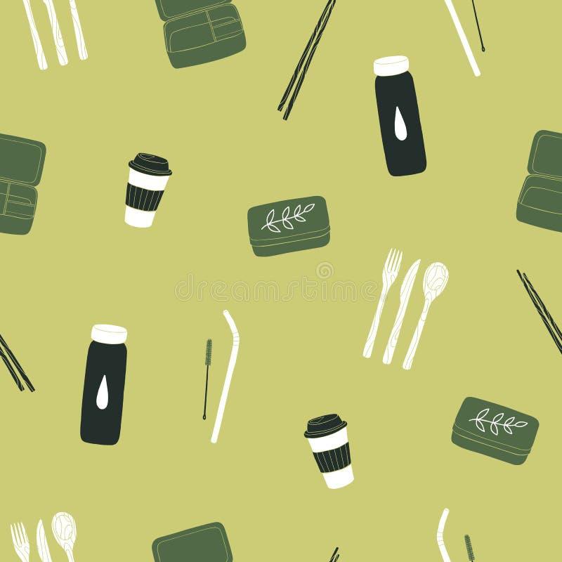 Zero waste items seamless pattern royalty free stock image