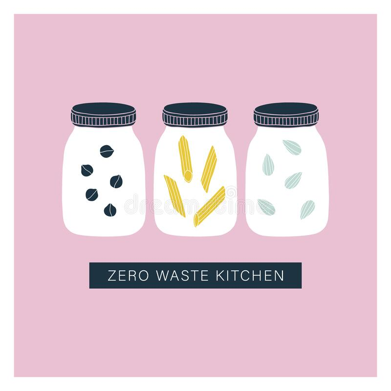 Free Zero Waste Kitchen Jars. Pantry Organisation Royalty Free Stock Photography - 186076367