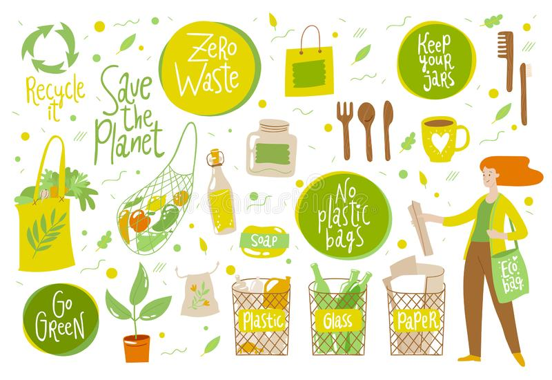 Zero waste vector set with eco life elements vector illustration