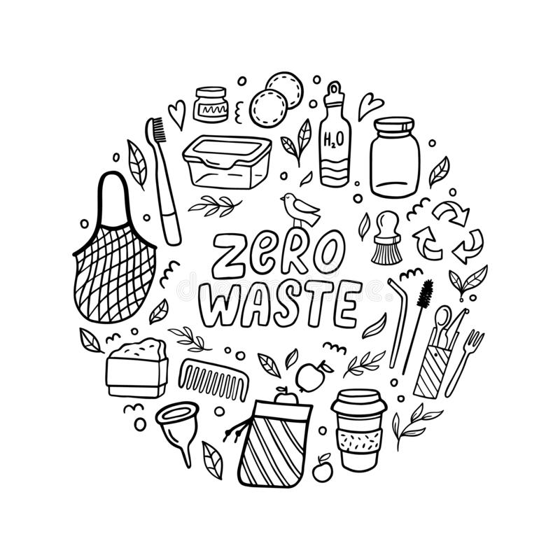 Zero waste lifestyle concept. Hand-drawn elements in eco-style. Doodle Vector illustration. Good for logo, posters, banners, web design, books, flyer or cards vector illustration