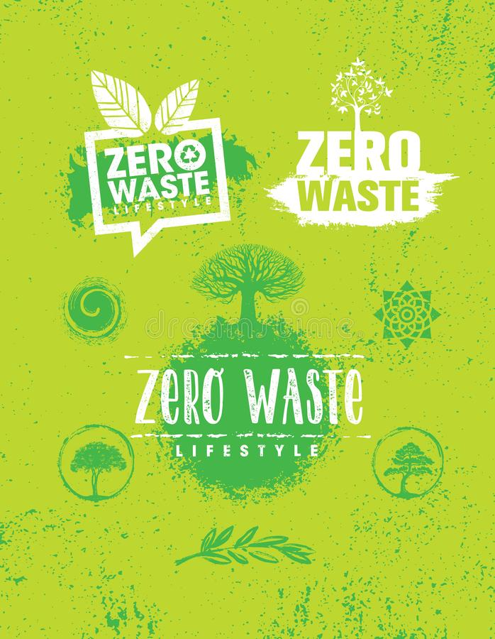 Zero Waste Lifestyle. Sustainable Creative Vector Eco Green Design Element. Organic Bio Concept stock photography