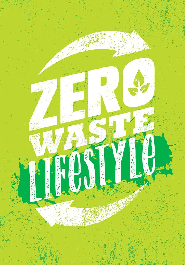 Zero Waste Lifestyle. Sustainable Creative Vector Eco Green Design Element. Organic Bio Concept stock image