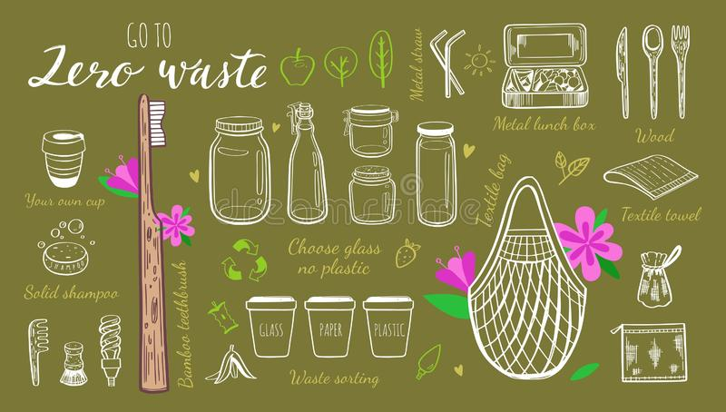 Zero waste lifestyle vector hand drawn set. Collection of eco and natural elements. Go green concept. Isolated objects stock illustration