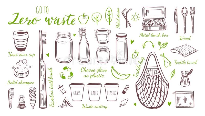 Zero waste lifestyle vector hand drawn set. Collection of eco and natural elements. Go green concept. Isolated objects vector illustration
