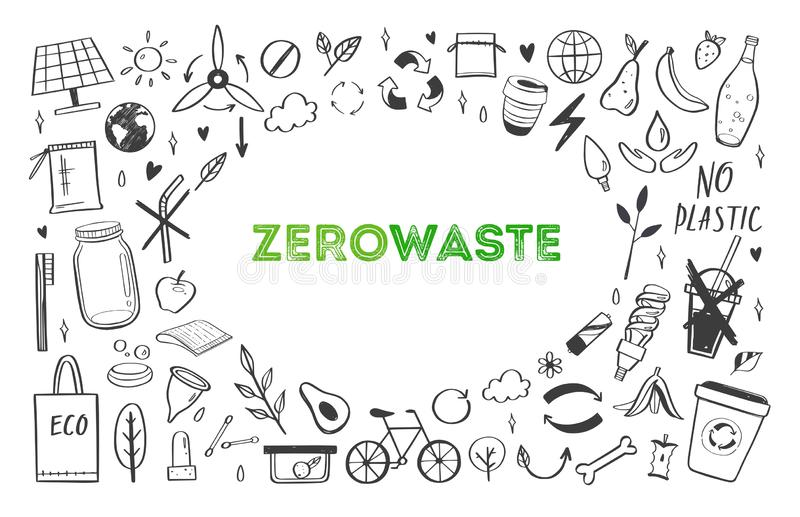 Zero waste lifestyle vector hand drawn set. Collection of ecogical and natural elements. Go green concept. Isolated objects royalty free illustration