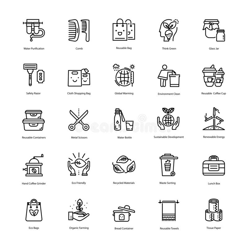 Zero Waste Line Icons Pack stock photography
