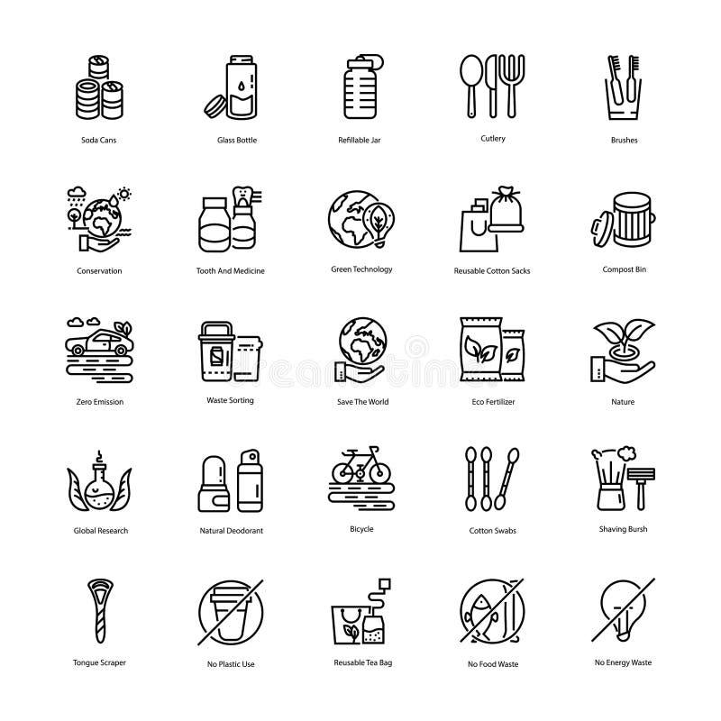 Zero Waste Line Icons Set royalty free stock photography