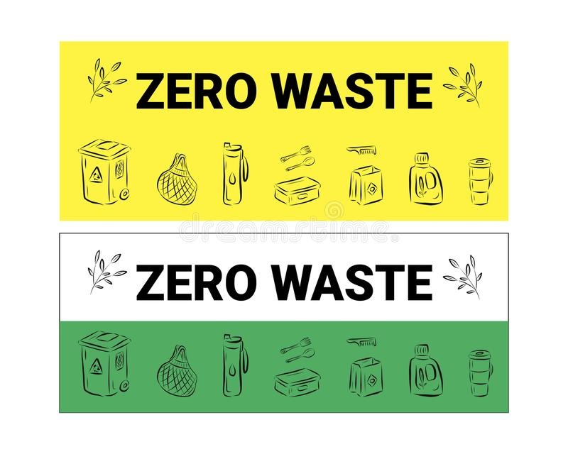 Zero Waste logo design template set. No Plastic and Go Green concept in banner. Vector eco lifestyle sign and symbol collection. vector illustration