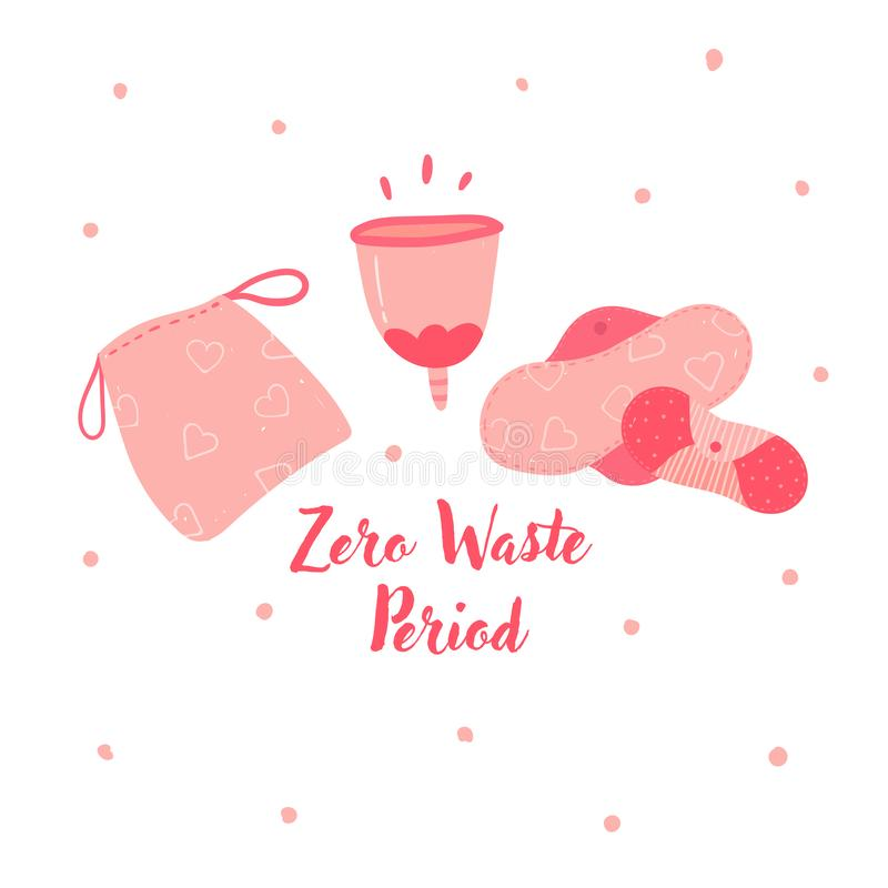 Zero waste menstrual cup and hygiene cycle pads. Zero waste menstrual cup and hygiene cycle reusable pads. Woman underwea eco friendly tampons, silicon stock illustration