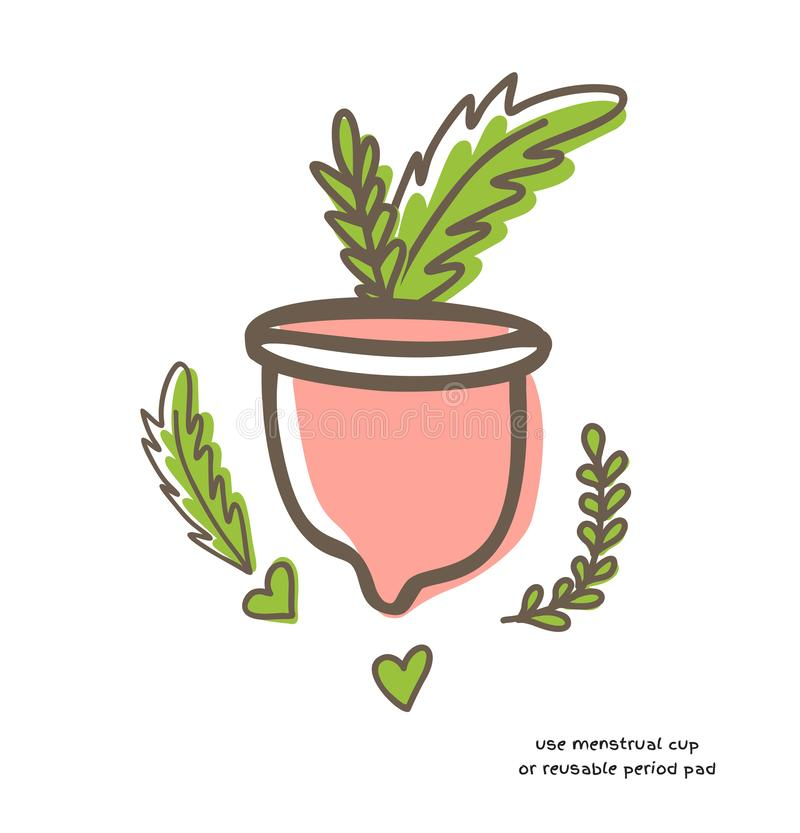 Zero waste menstrual cup with leaves isolated on white background. Zero waste menstrual cup with green leaves isolated on white background doodle vector vector illustration