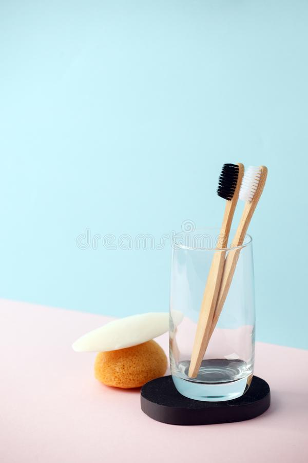 Zero waste natural cosmetics products on modern trendy 3d rendering imitation background, creative eco-friendly idea stock photo