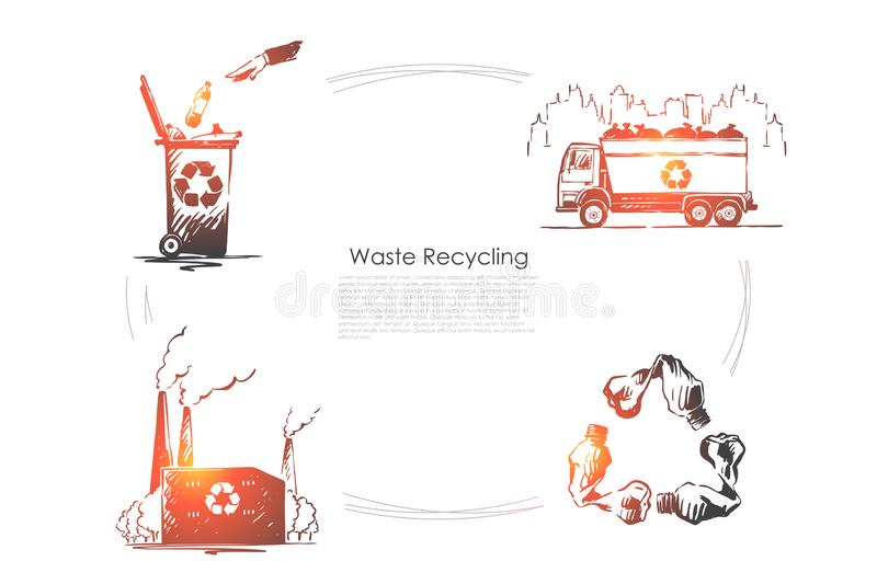 Zero waste, nature, ecology protection, pollution reduction, environment preservation, plastic free banner vector illustration